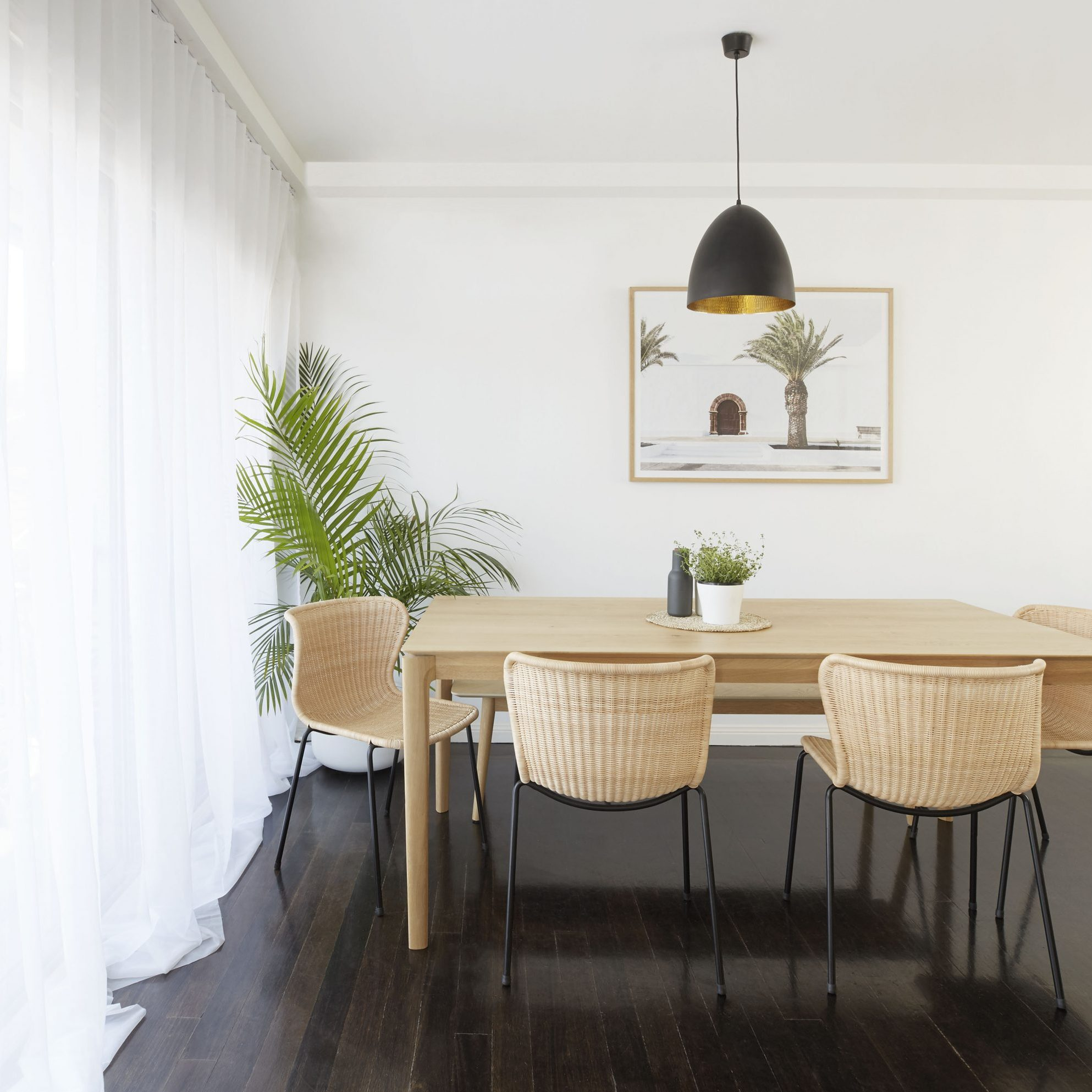 Simple Refresh, Simple Step Light and bright, sheers, sunlight, dining table, plants