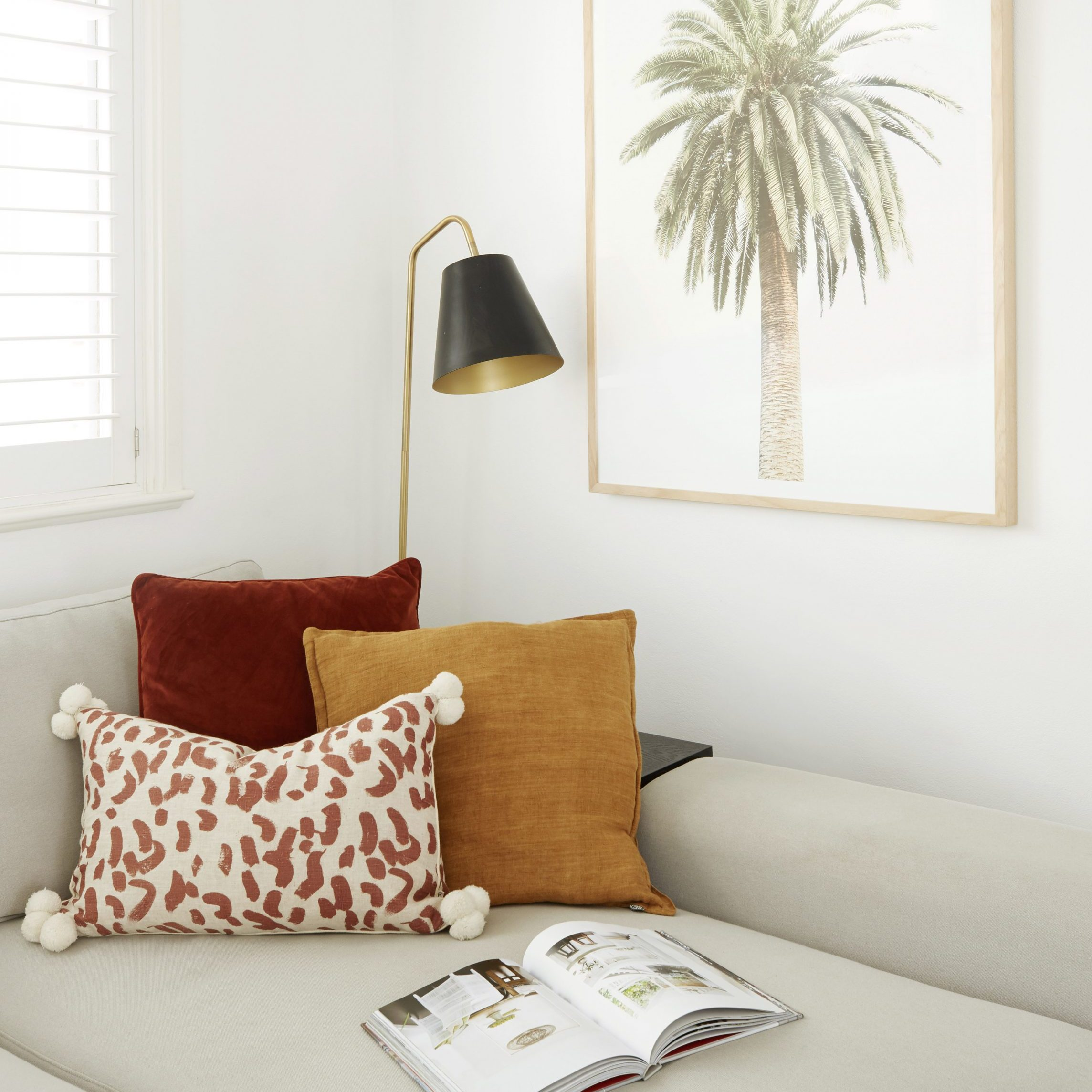 Simple Step, add colour and texture. cushions. lamp. couch